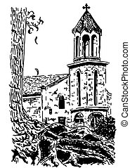 old european Church, Vector hand drawn ink sketch