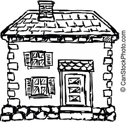 old European house - sketch, doodle illustration of old...