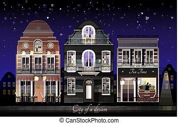 Old European Houses Illustration