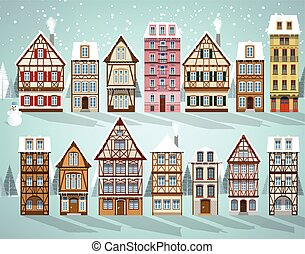 Old european houses (Winter) - Vector illustration of...