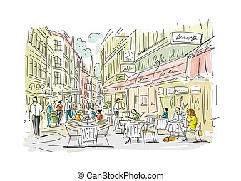 Old european street with cafe and restaurants, sketch for your design