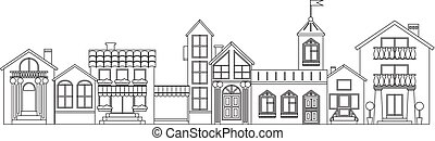 Old european town contour. Vector isolated houses outline illustration.