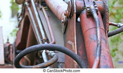 Old excavator in closeup