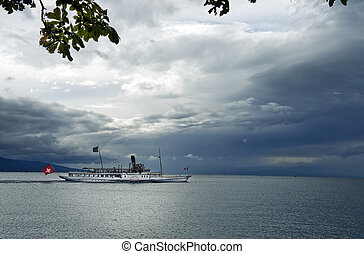 old excursion steamer on lake Geneva