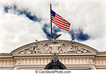 Old Executive Office Building Roof Decorations Flag Washington D