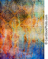 Old fabric: Abstract textured background with blue, yellow, and red patterns