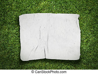 old fabric on grass background