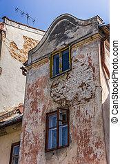 Old facade in the center of Lviv