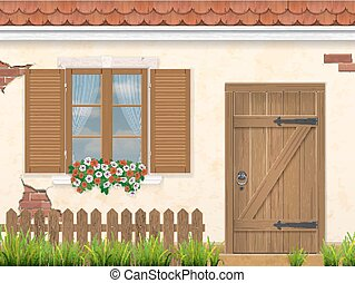 old facade wall window and wooden door - The facade of the ...
