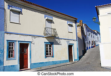 old facades in old village, south of Portugal