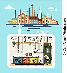 Old Factory - Industrial Flat Design Vector Building and Interior with Line of Production