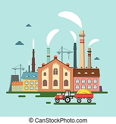 Old Factory with Chimney Smoke. Retro Flat Design Vector with Tractor.