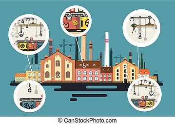 Old Factory with Chimney Stacks. Industrial Flat Design Vector Building with Line of Production in Bubbles