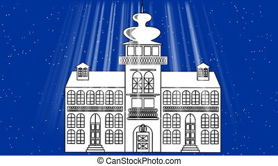Old fairy-tale castle in blizzard, a dark blue background...