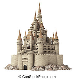 Old fairytale castle on the hill isolated on white. 3d...
