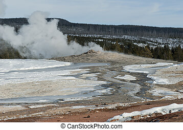 Old Faithful Erupting, Winter, Yellowstone NP
