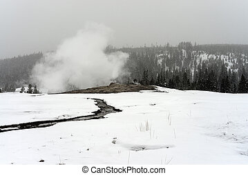 Old Faithful Geyser Winter