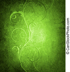 Old fantasy wallpaper with decorative floral wave