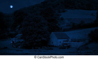 Old Farm Building In The Field At Night