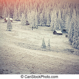 Old farm in the Carpathian mountains. Colorful winter morning.