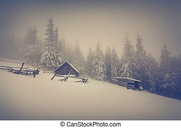 Old farm in the mountains at winter.