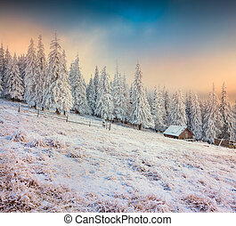 Old farm in the mountains. Colorful winter morning.