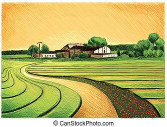 Old Farm Landscape
