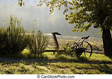 Old Farm Machine - Sunrise on a Farm in Italy