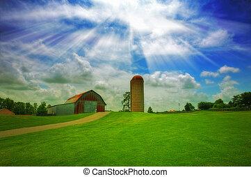 Old farm - An old farm with a barn and silo