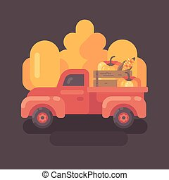 Old farm truck with pumpkins with yellow trees in the background