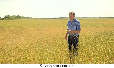 old farmer lifestyle man explore are studying in the field...