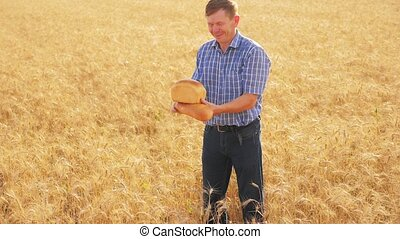 old farmer man baker holds a golden bread and loaf in ripe wheat field. slow lifestyle motion video. harvest time. old man baker bread baking vintage agriculture concept. successful agriculturist in field of wheat