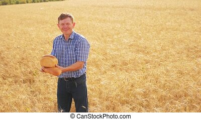 old farmer man baker holds a golden bread and loaf in ripe wheat field. slow motion lifestyle video. harvest time. old man baker bread baking vintage agriculture concept. successful agriculturist in field of wheat