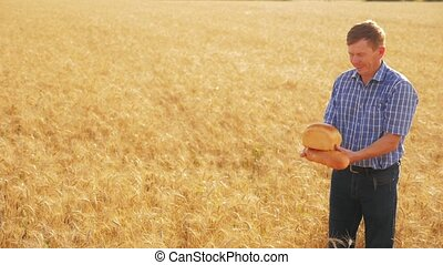 old farmer man baker holds a golden bread and loaf in ripe wheat field. slow motion video. harvest time. old man baker bread baking vintage agriculture concept. successful agriculturist in field lifestyle of wheat