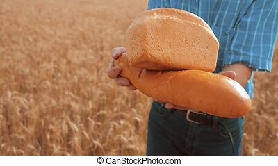 old farmer man baker holds a golden bread and loaf in wheat field against the blue sky. slow motion video. successful agriculturist in field of wheat. harvest time lifestyle. baker bread baking vintage agriculture concept