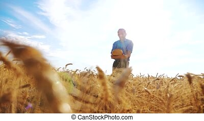 old farmer man silhouette baker holds a golden bread and...