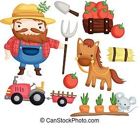 Old farmer vector set