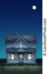 Old Farmhouse Full Moon and Stars