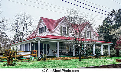 Old Farmhouse with Red Roof