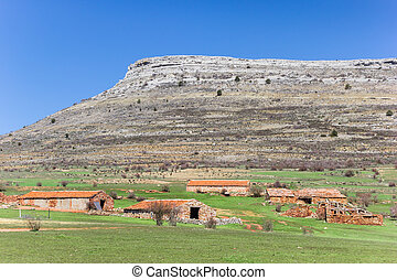 Old farms in the landscape of Castilla y Leon, Spain