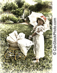 Small girl pushing baby carriage representing yesteryear - Photo/illustration/graphic