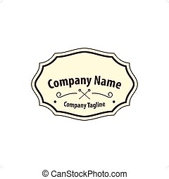 Old fashion label or crest vector illustration isolated on white background.