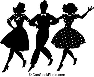 Old-fashion musical clip-art - Black vector silhouette of...