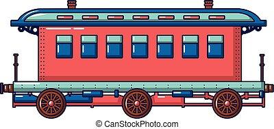 Old fashion passenger wagon icon, cartoon style