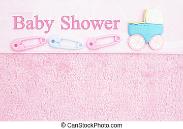 Old fashion pink shower baby background with baby diaper pins and a baby carriage with text Baby Shower