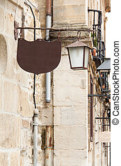 Old fashion street lamp with cafe ord bar sign
