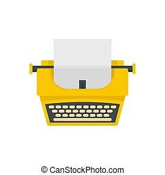 Old fashion typewriter icon, flat style