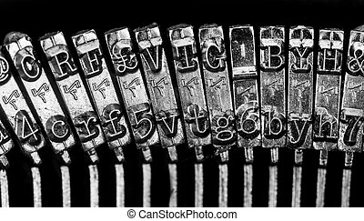 Old Fashion Typewriter on a black background