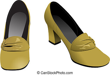 Old fashion woman shoes. Vector il