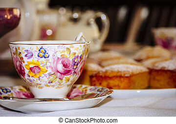 Old-Fashioned afternoon tea - Old-fashioned teacup and...